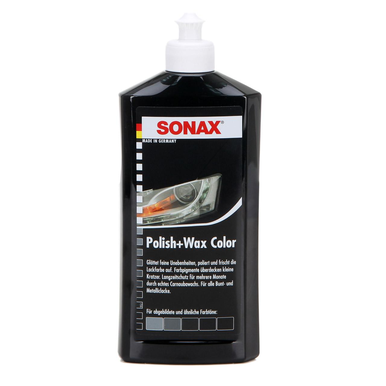 SONAX 296100 POLISH & WAX COLOR Politur & Wachs NanoPro SCHWARZ 500ml