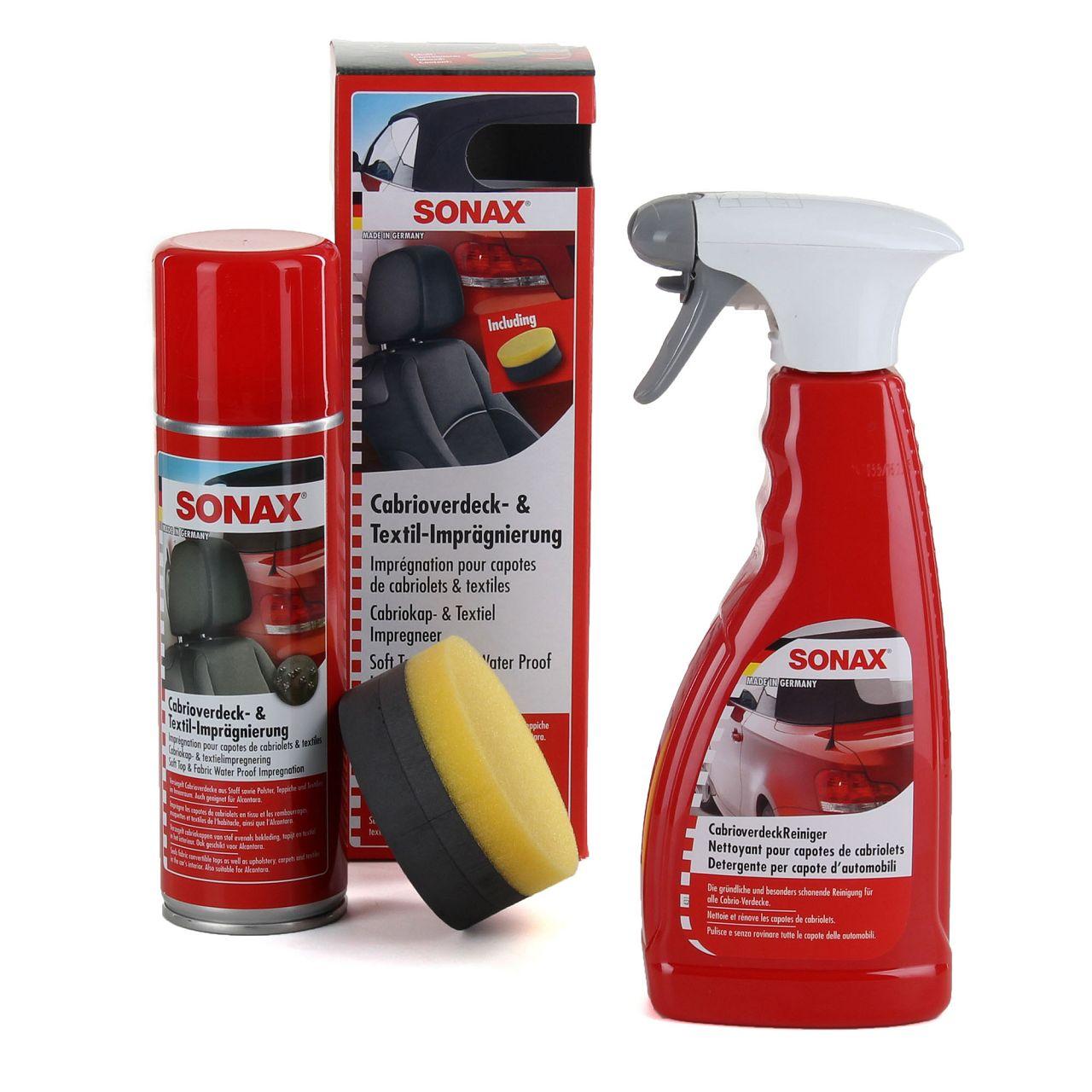 SONAX Cabrio Pflege Set Verdeck Reiniger 500ml + Imprägnierung 300ml + Schwamm