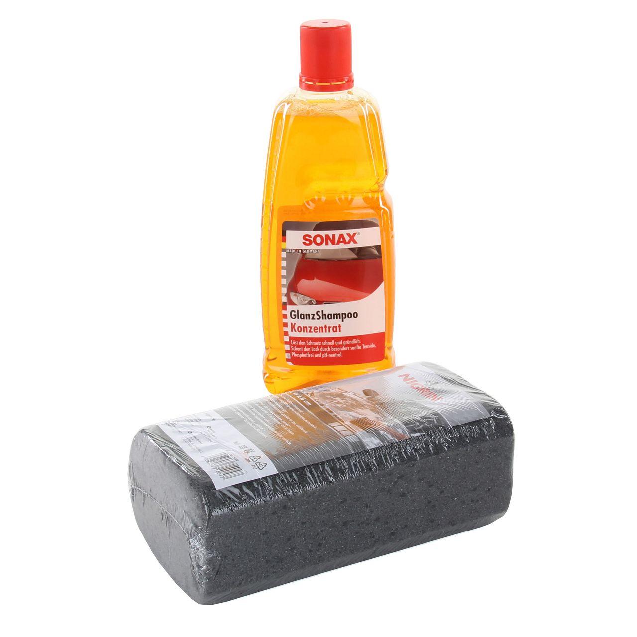 SONAX GlanzShampoo Konzentrat Auto-Shampoo 1 Liter + Schwamm Autoschwamm