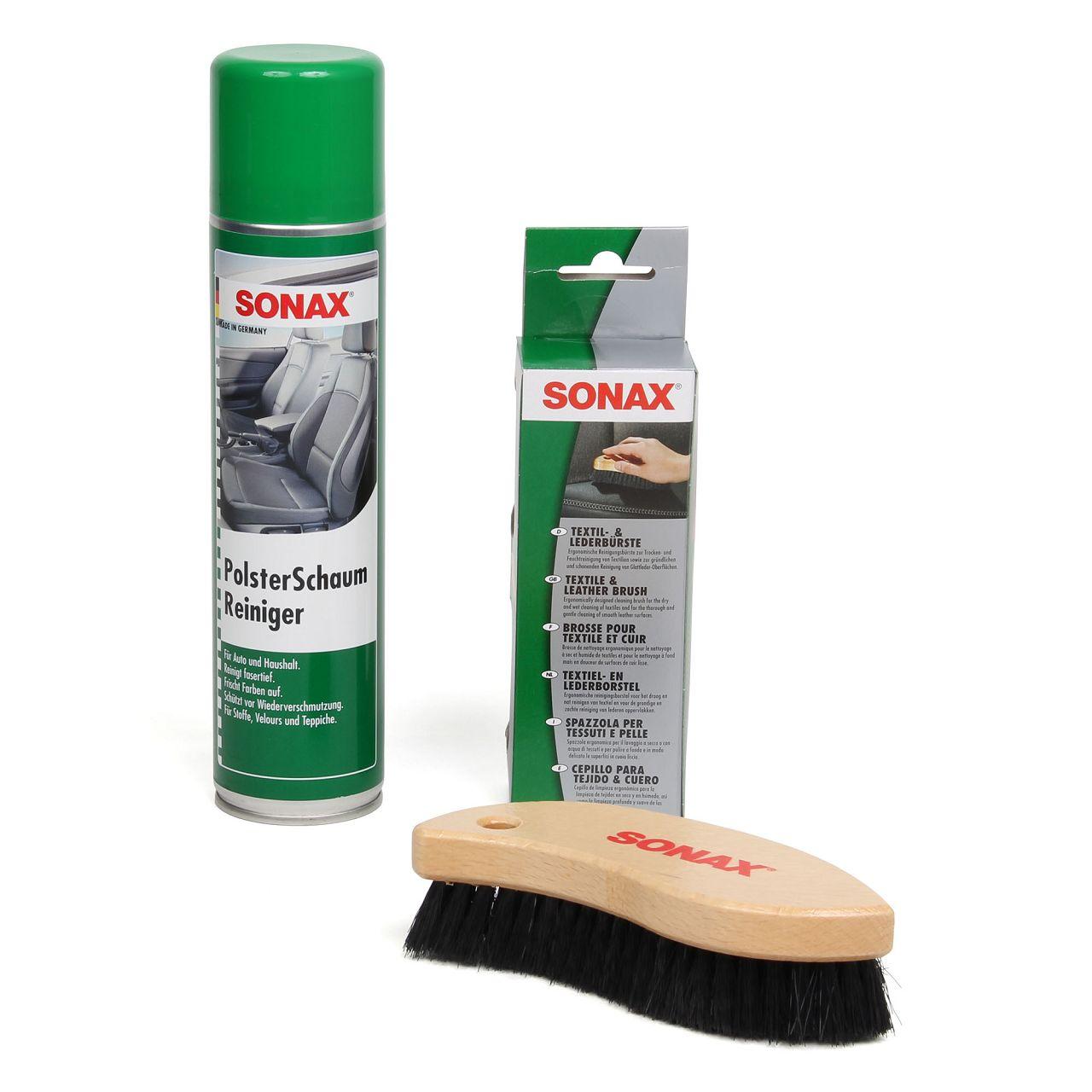 SONAX Polsterschaumreiniger Polsterschaum + Textilbürste Lederbürste