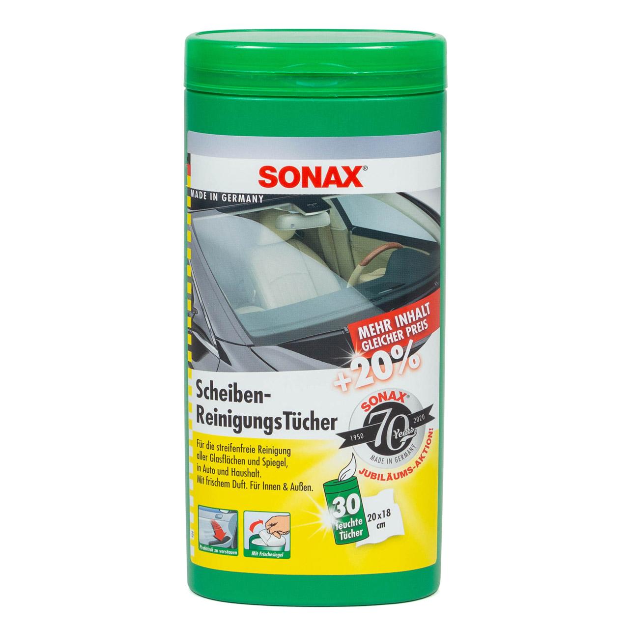 SONAX Scheibenreinigungstücher Box 412000 Reinigungstücher Autopflege 25 Stk
