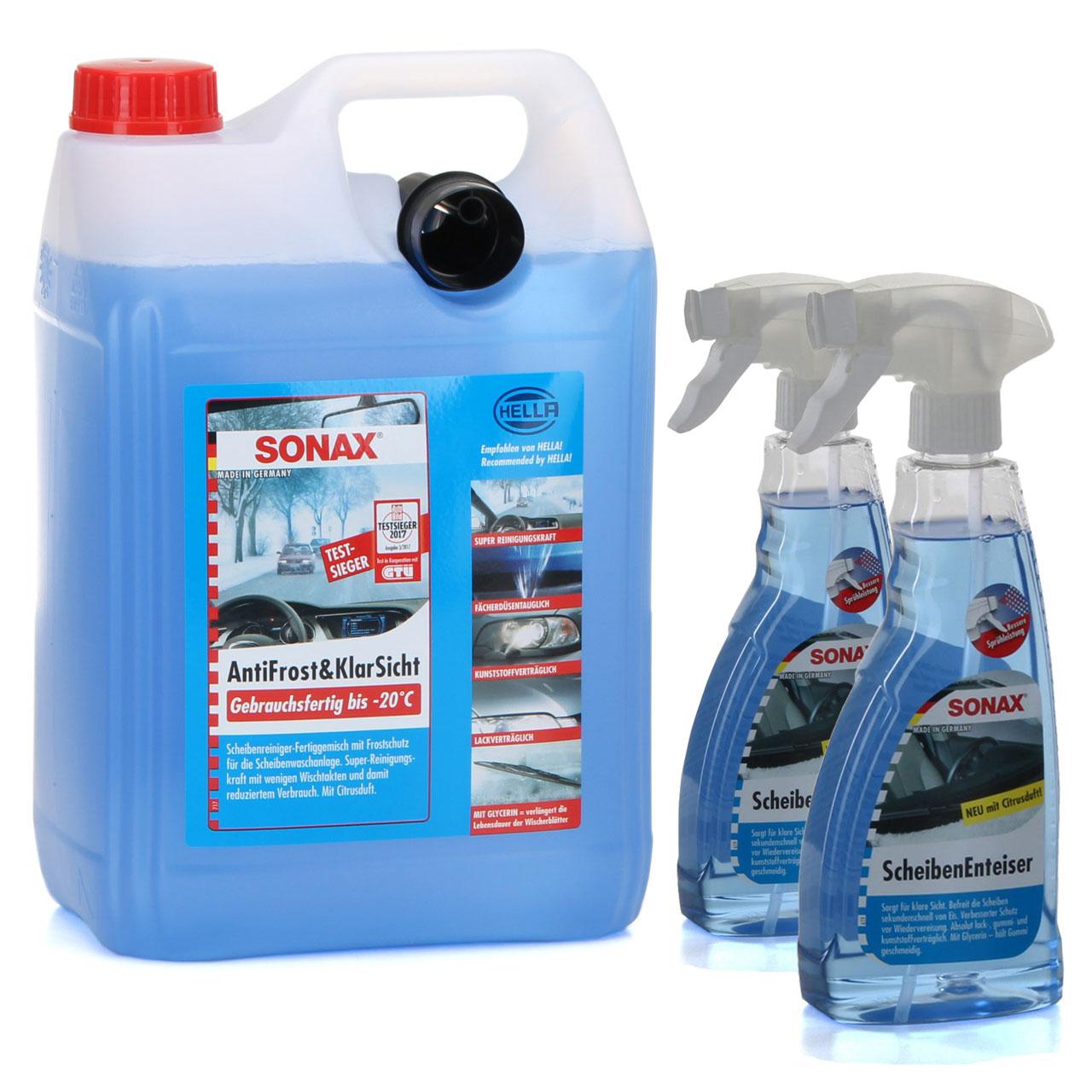 SONAX ANTIFROST & KLARSICHT bis -20°C 5 Liter + SONAX Scheibenenteiser 500ml