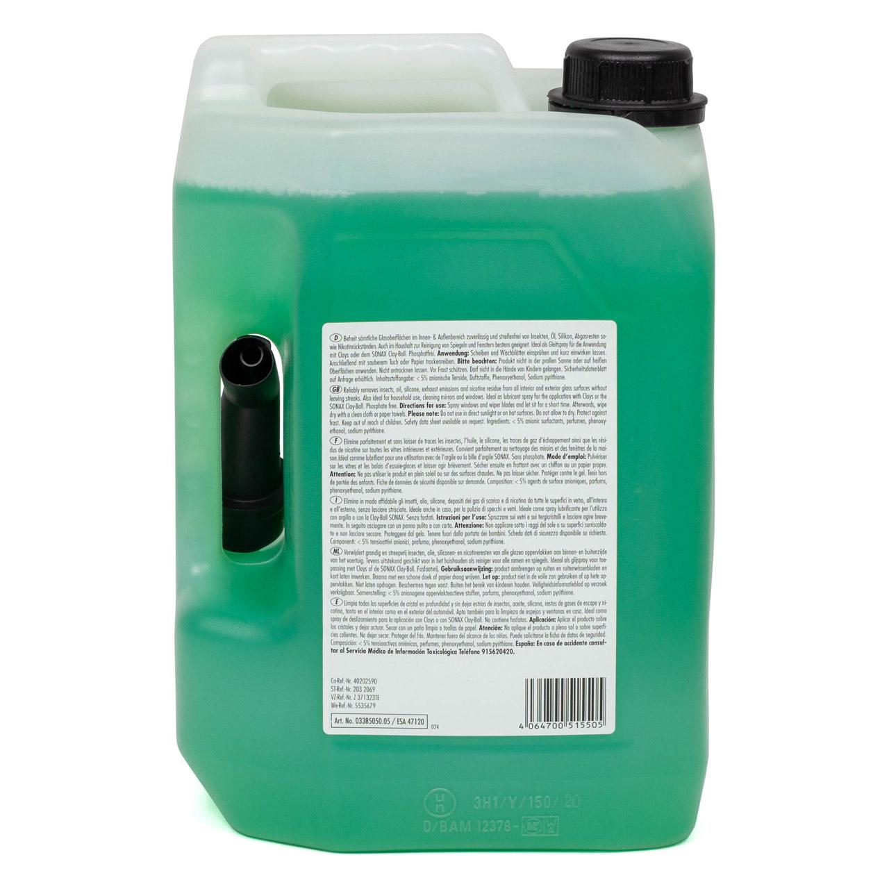 SONAX 338505 Scheibenreiniger Scheibenklar Glasreiniger Reiniger 5 Liter