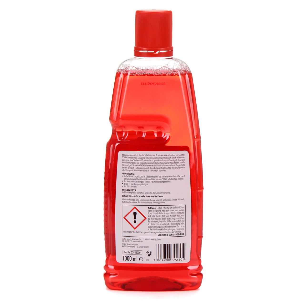 SONAX 392300 ScheibenWash 1:10 Konzentrat Scheibenreiniger Cherry Kick 1L