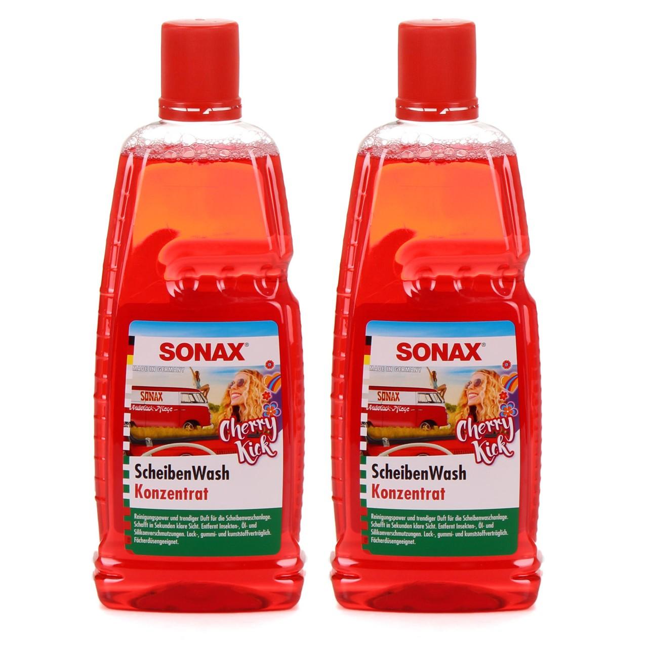 SONAX 392300 ScheibenWash 1:10 Konzentrat Scheibenreiniger Cherry Kick 2x 1L
