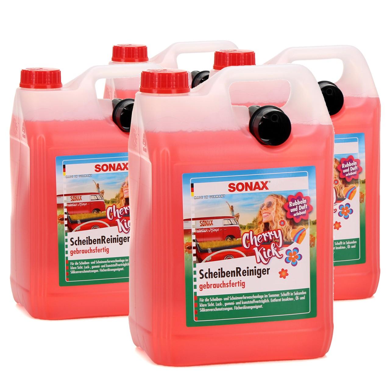 SONAX 392500 ScheibenReiniger gebrauchsfertig Cherry Kick 4x 5L 5 Liter