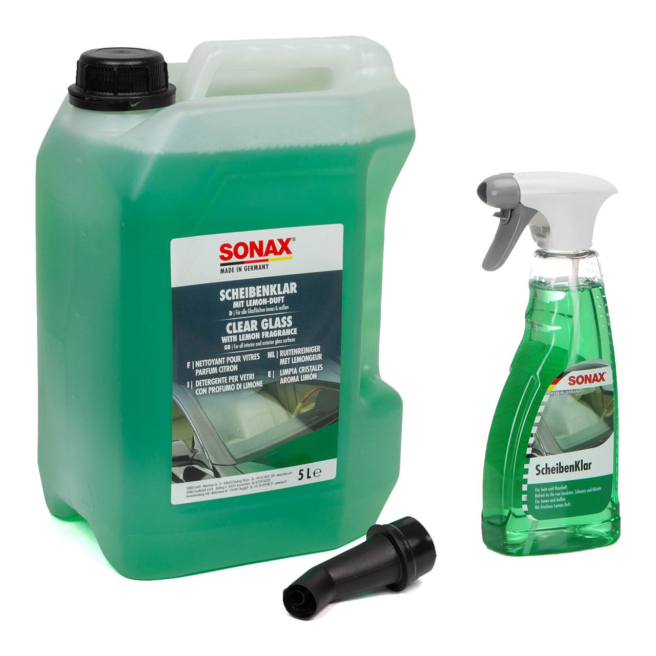 SONAX Scheibenreiniger Scheibenklar Glasreiniger Reiniger Set 5 Liter + 500ml