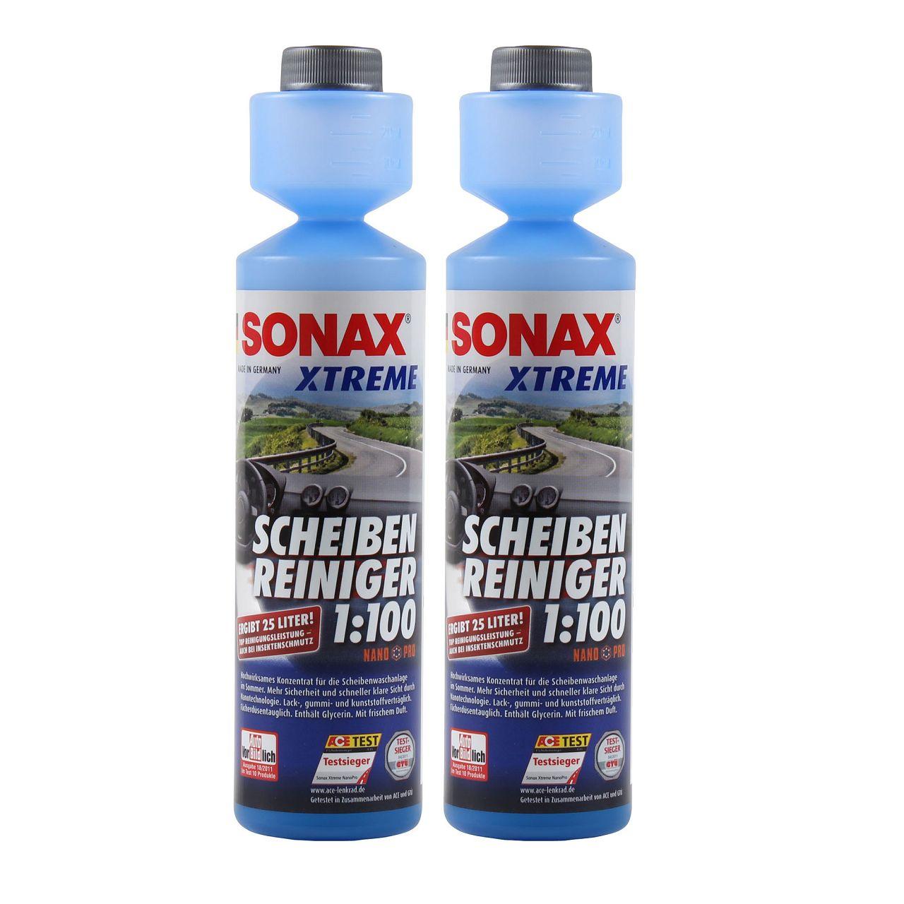 2x 250ml SONAX XTREME Scheiben Reiniger 1:100 NanoPro Scheiben Klar 271141