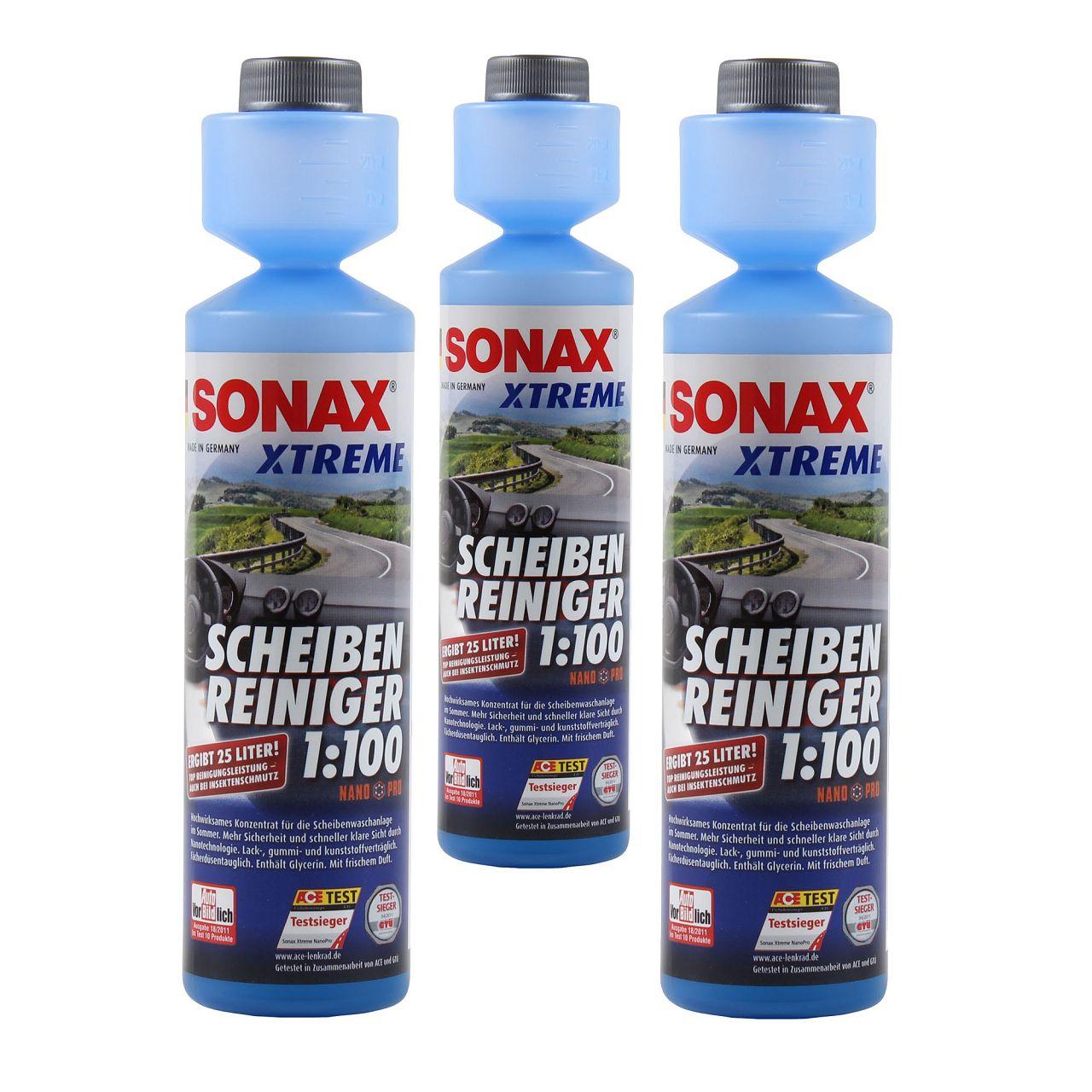 3x 250ml SONAX XTREME Scheiben Reiniger 1:100 NanoPro Scheiben Klar 271141