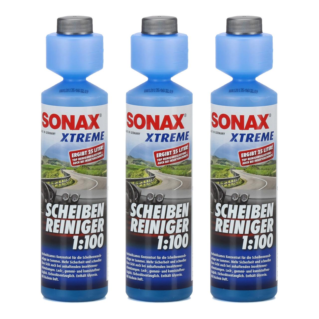 3x 250ml SONAX 271141 XTREME Scheiben Reiniger 1:100 NanoPro Scheiben Klar