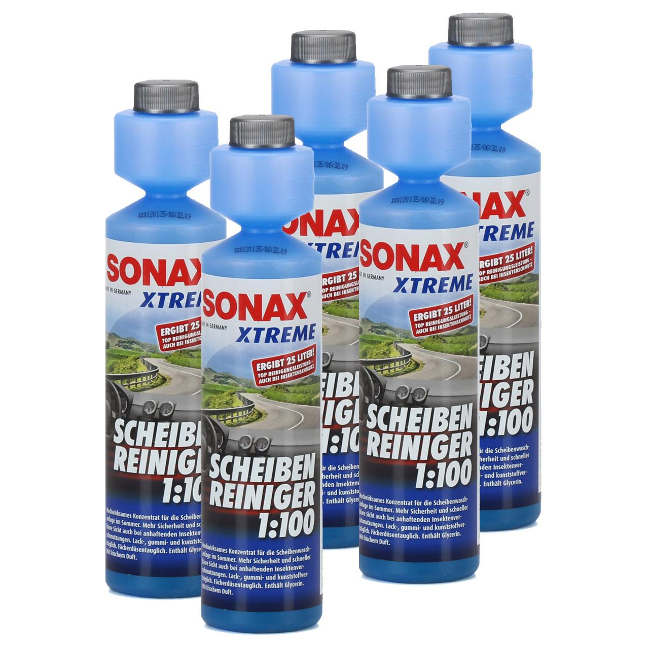 5x 250ml SONAX 271141 XTREME Scheiben Reiniger 1:100 NanoPro Scheiben Klar