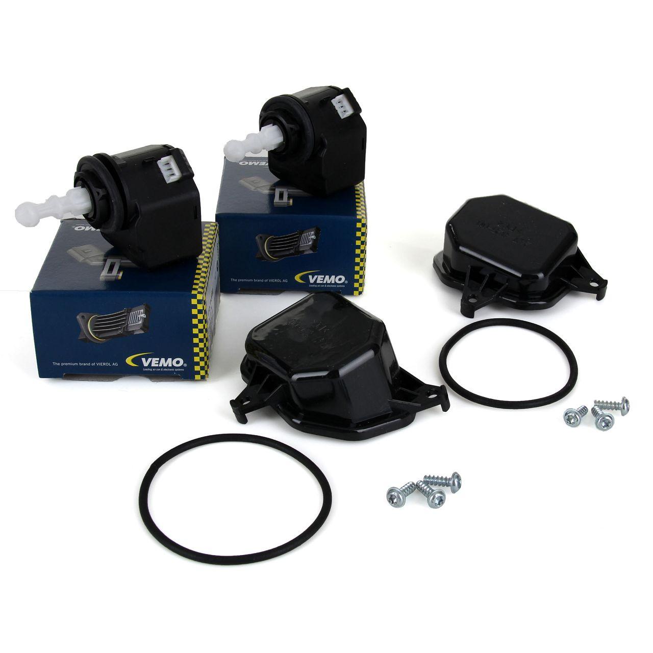 2x VEMO Stellmotor Scheinwerfer LWR HALOGEN + 2x Deckel für VW POLO (9N_) vorne