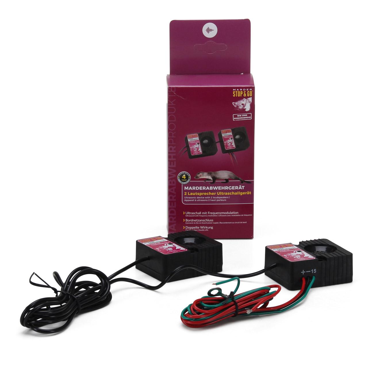 STOP & GO Marderabwehr Ultraschall-Gerät mit 2 Lautsprecher Marderschutz 07515