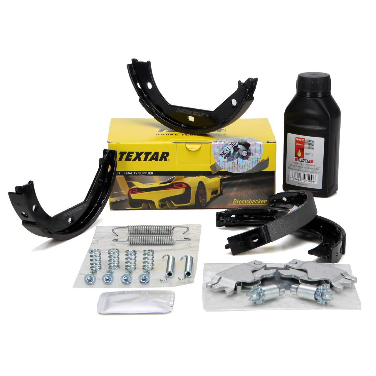 TEXTAR Bremsbacken Federn Nachsteller Satz Bremsflüssigkeit DOT4 BMW E81-88 E46 E90-93 F30
