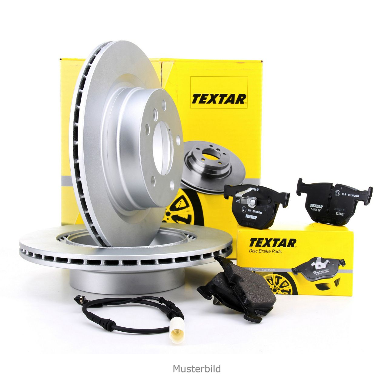 TEXTAR Bremsscheiben + Bremsbeläge + Wako BMW 5er E61 Touring 520-530i 520-530d hinten