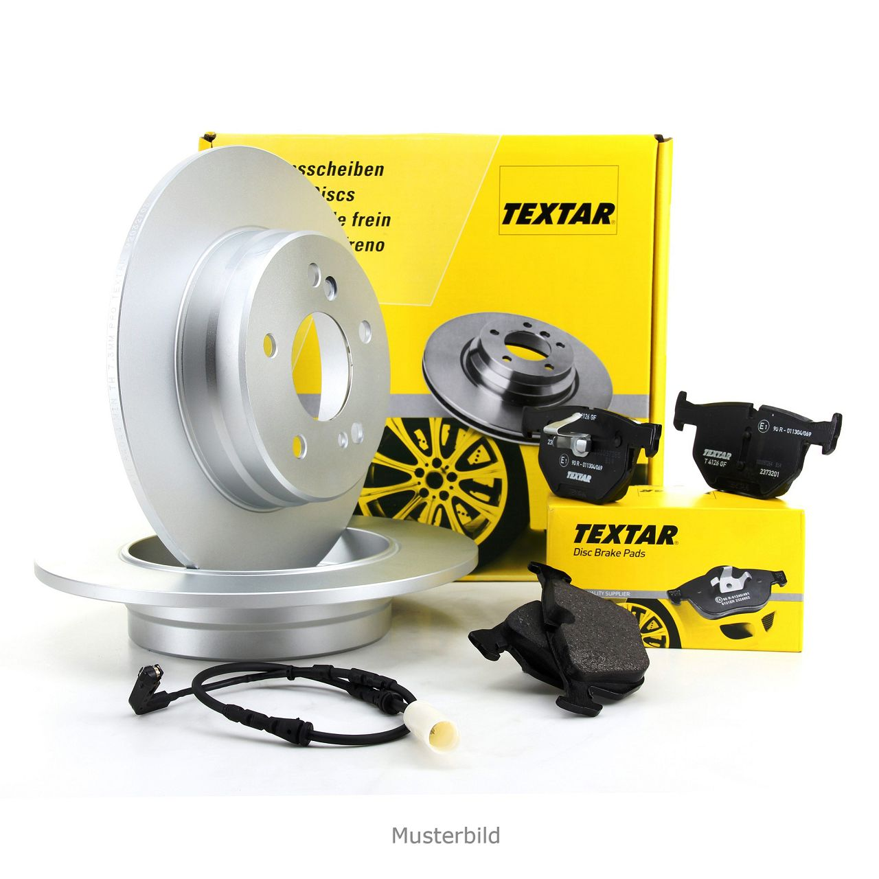 TEXTAR Bremsscheiben + Beläge + Wako MERCEDES W204 C204 S204 A207 C207 hinten