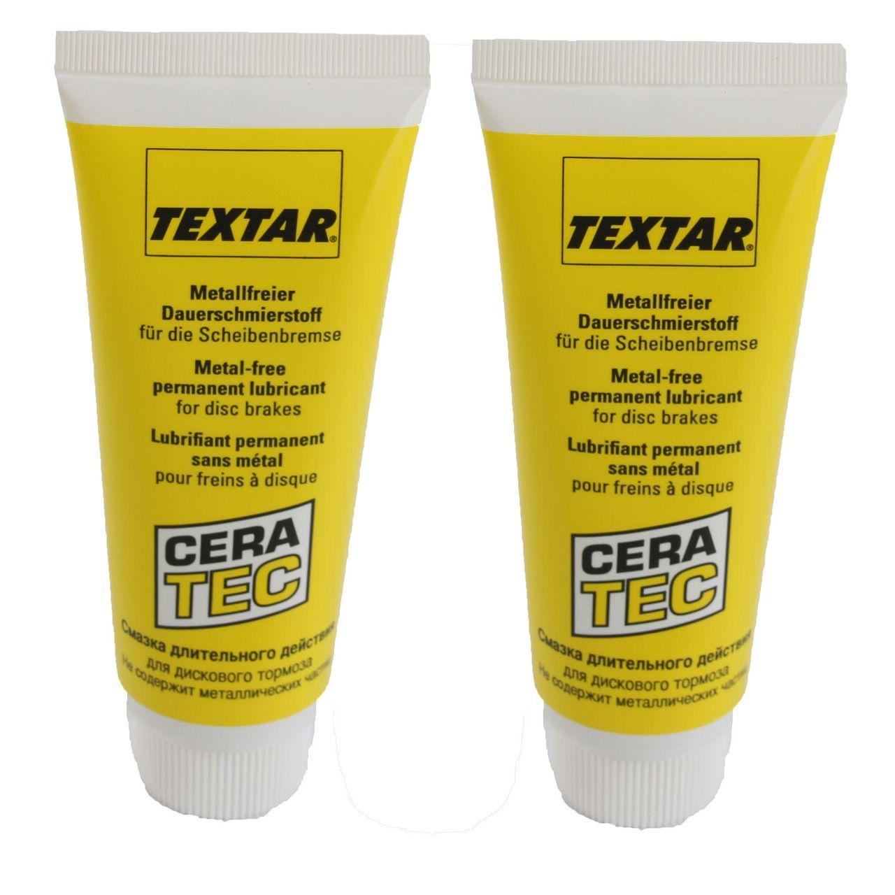 2x 75ml TEXTAR CeraTec Bremsklotzpaste Bremsbelagpaste Montagepaste