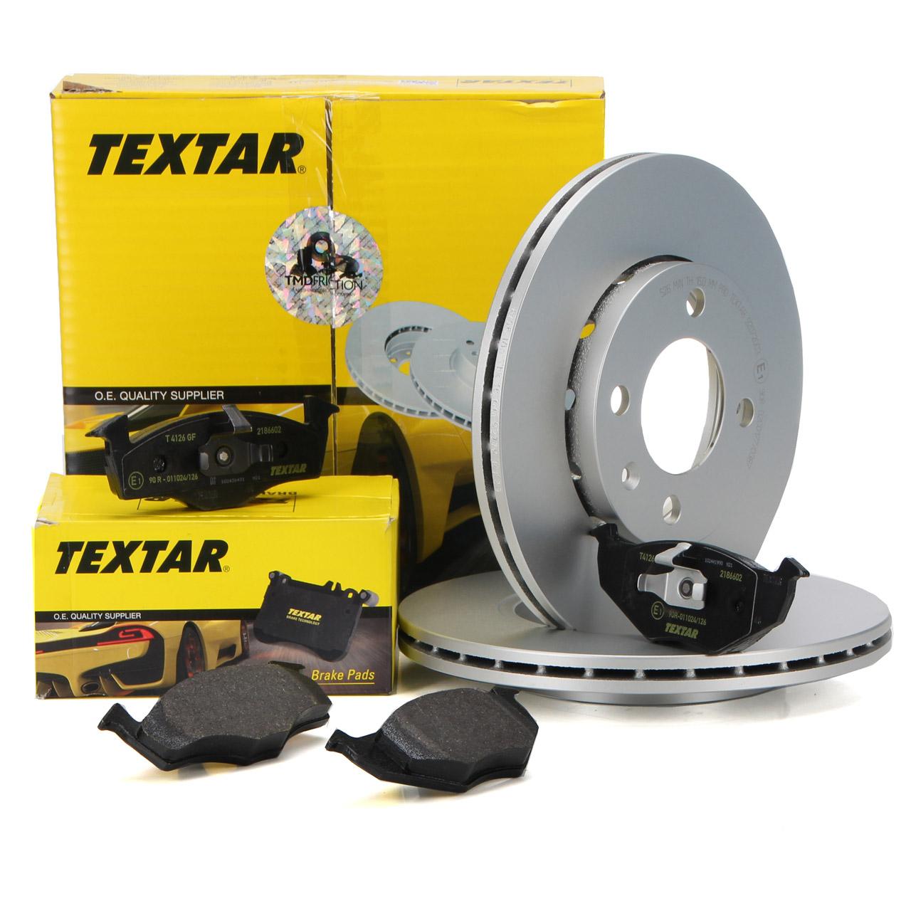 TEXTAR Bremsscheiben + Bremsbeläge SEAT Arosa 6H VW Lupo Polo 6N1 6N2 vorne