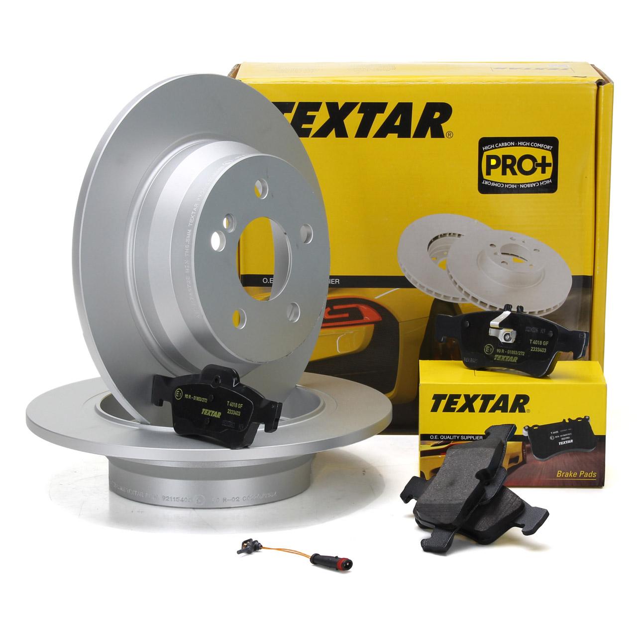 TEXTAR Bremsscheiben + Beläge + Wako MERCEDES W211 S211 W212 S212 C218 X218 hinten