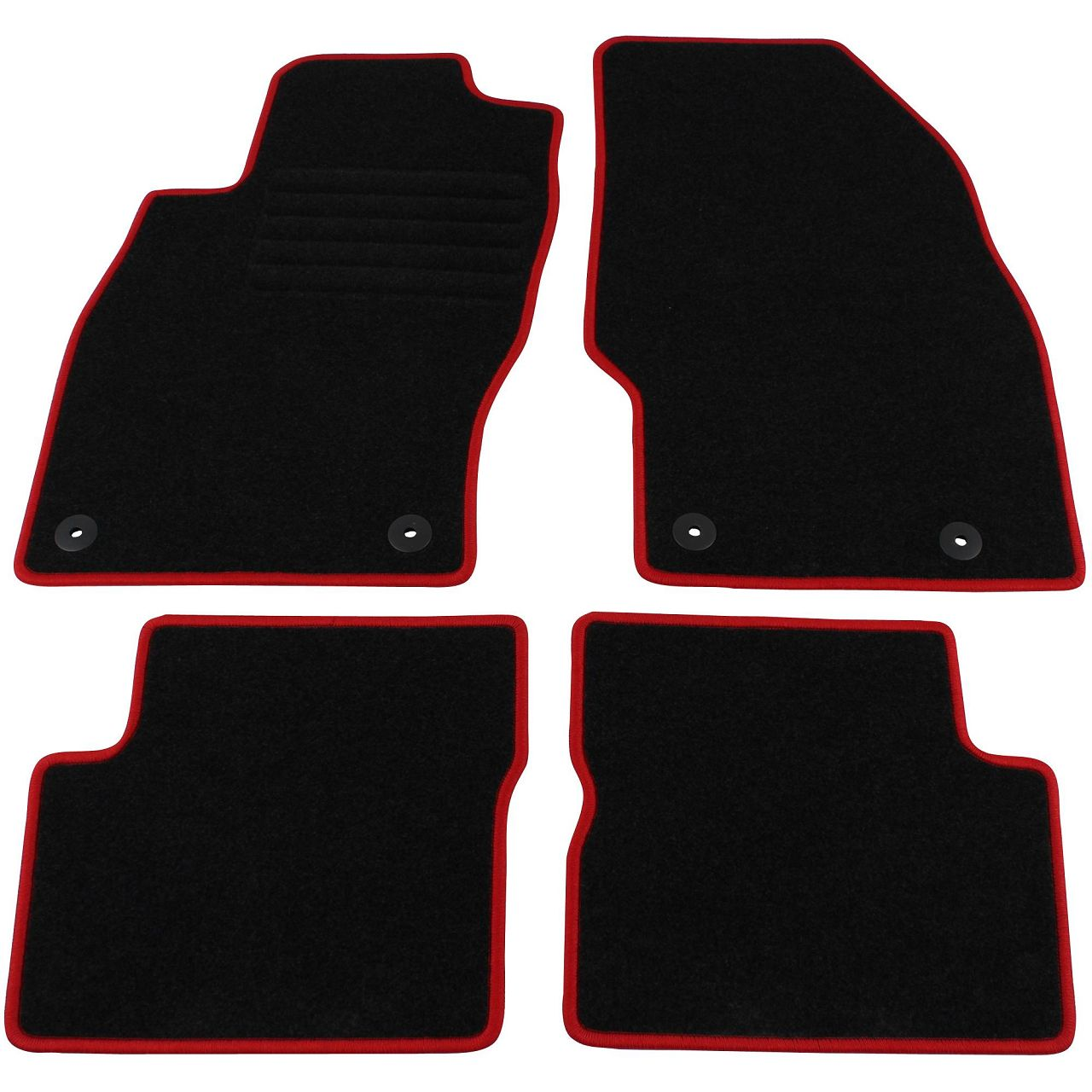 """Veloursmatten Textilmatten Fußmatten Satz """"RED"""" für OPEL CORSA D 4-tlg"""