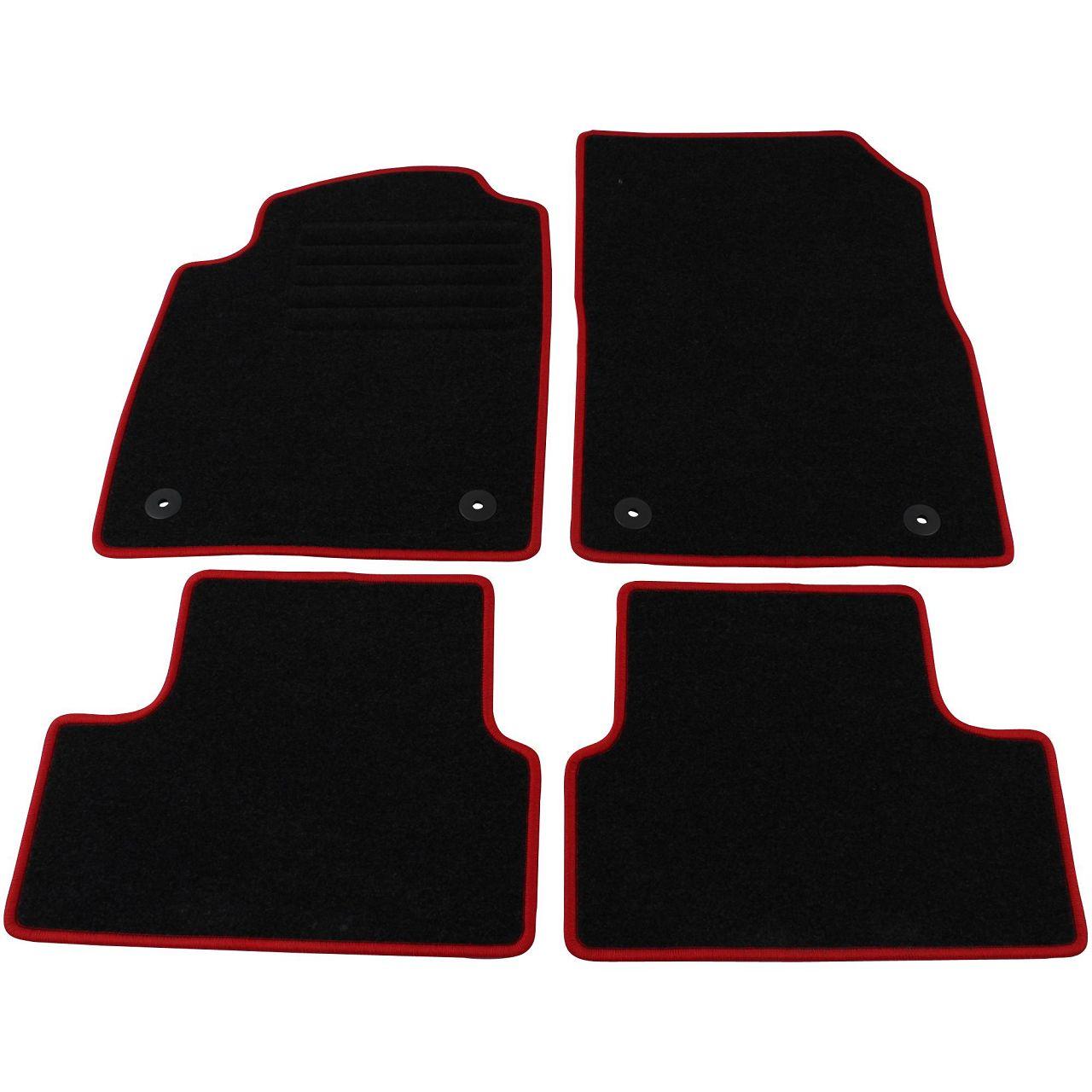 """Veloursmatten Textilmatten Fußmatten Satz """"RED"""" für OPEL ASTRA J 4-tlg"""