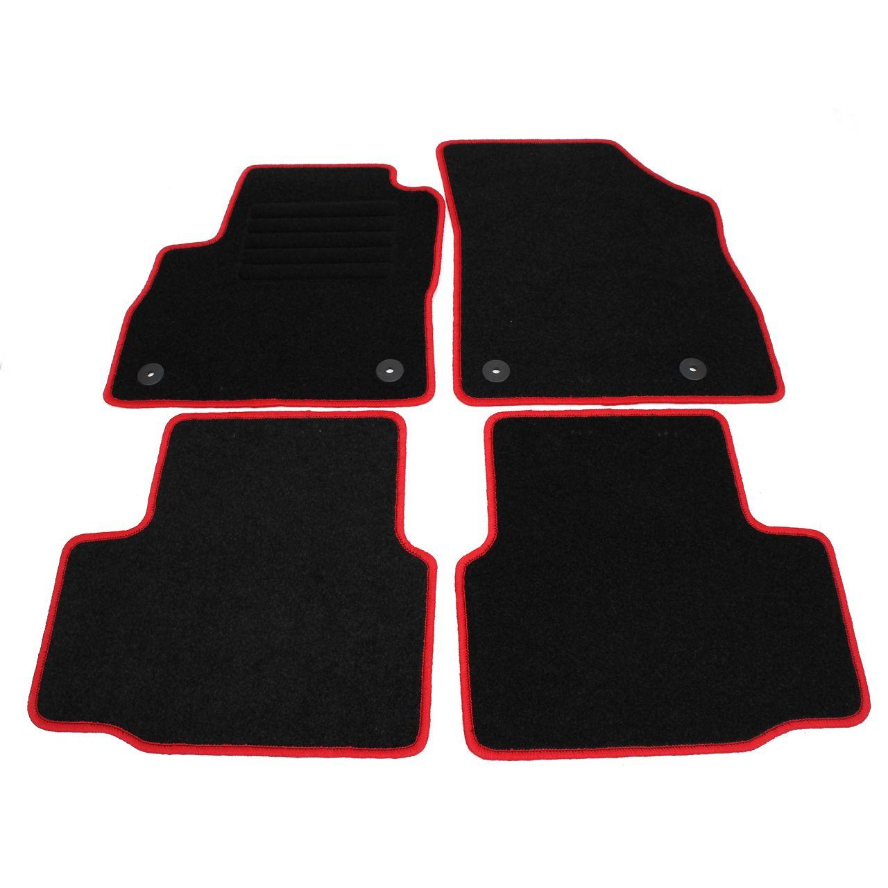 """Veloursmatten Textilmatten Fußmatten Satz """"RED"""" für OPEL ASTRA K 4-teilig"""