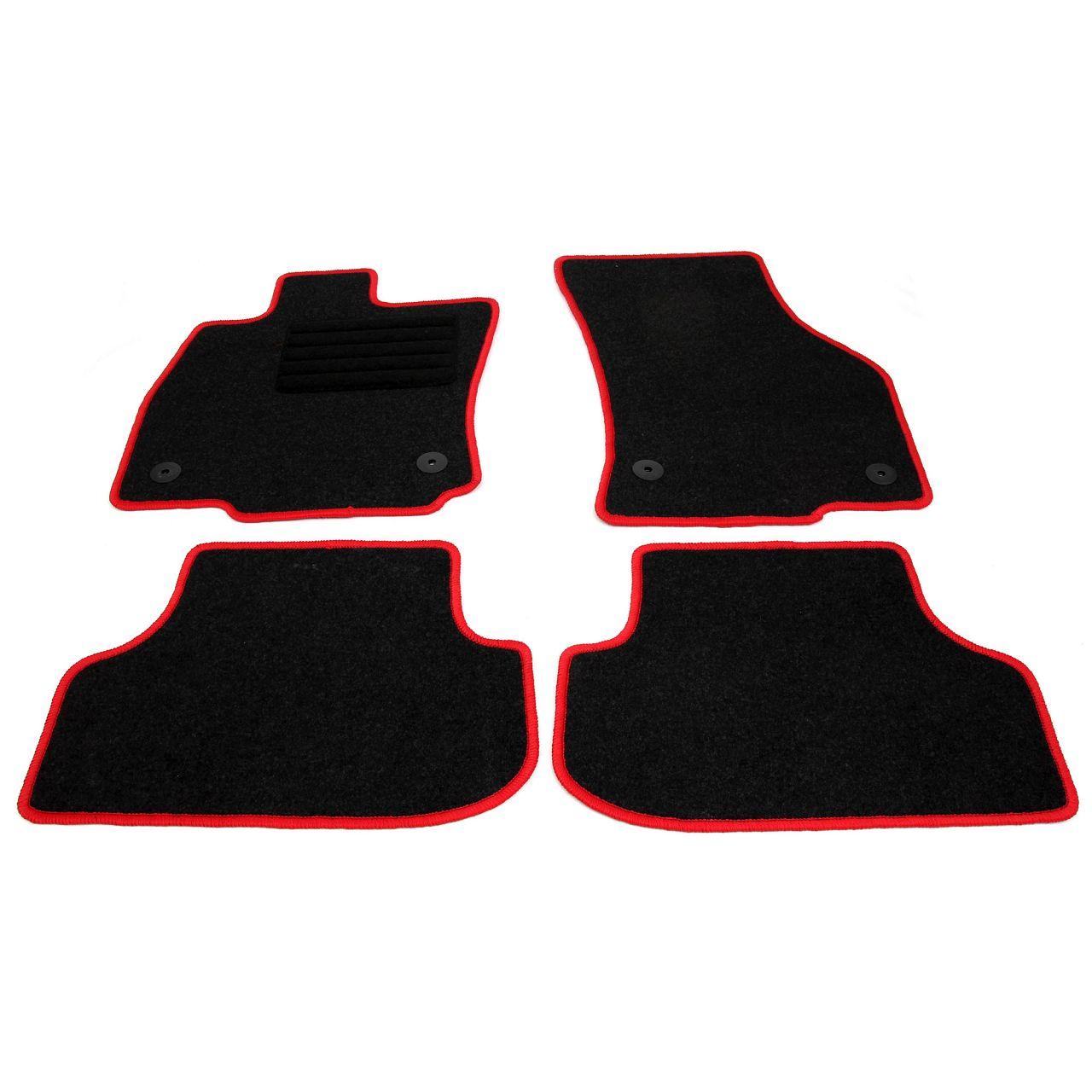 Veloursmatten Textilmatten Fußmatten RED-Edition SEAT Leon (5F) 4-teilig
