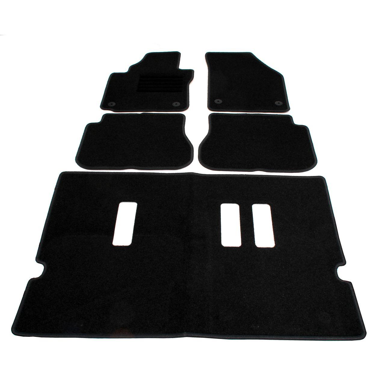 Veloursmatten Textilmatten Fußmatten für VW CADDY IV Kombi 7-SITZER 5-teilig