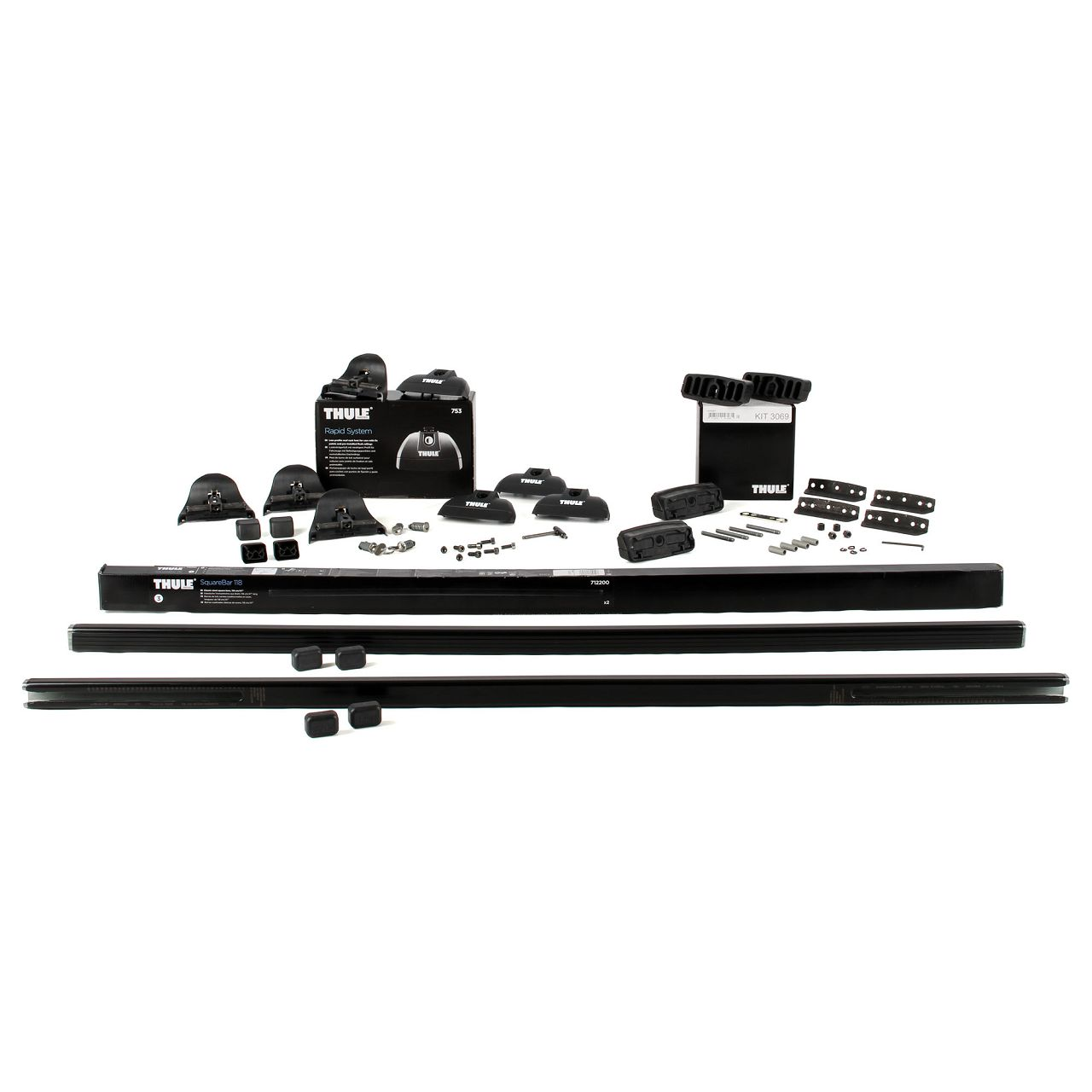 THULE Grundträger Dachträger + Fußsatz + Montagesatz 712 + 753 + 3069
