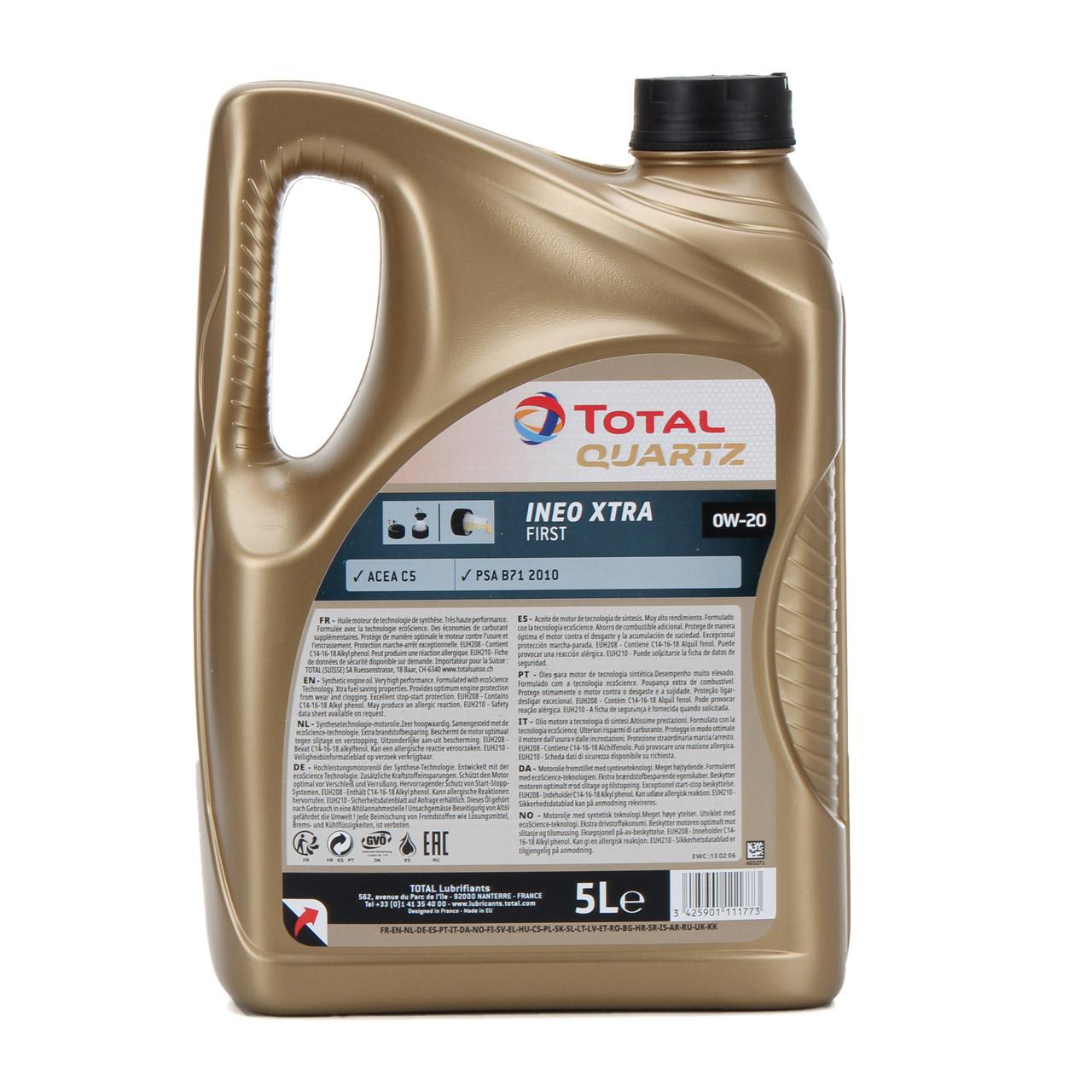 TOTAL Motoröl Öl QUARTZ INEO XTRA FIRST 0W-20 0W20 PSA B71 2010 - 5L 5 Liter