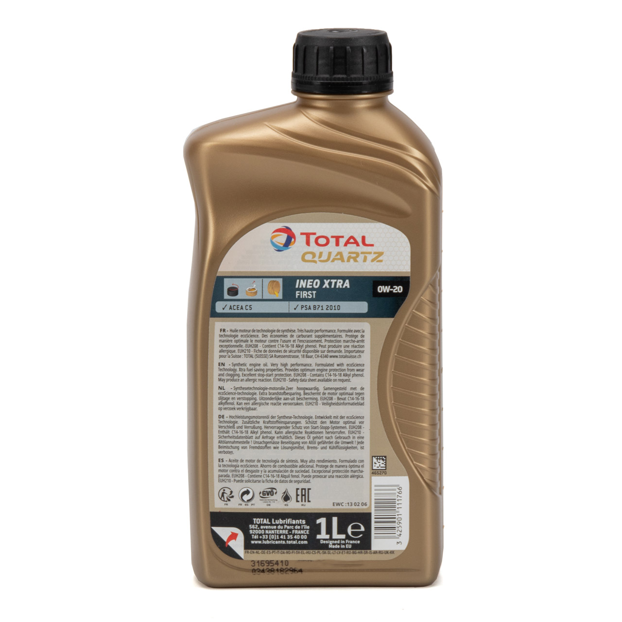 TOTAL Motoröl Öl QUARTZ INEO XTRA FIRST 0W-20 0W20 PSA B71 2010 - 1L 1 Liter