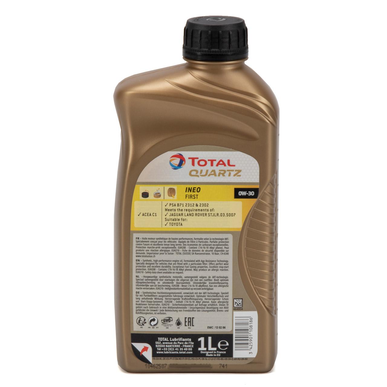 TOTAL QUARTZ INEO FIRST Motoröl Öl 0W-30 ACEA C1 C2 PSA B71 2312 - 1L 1 Liter