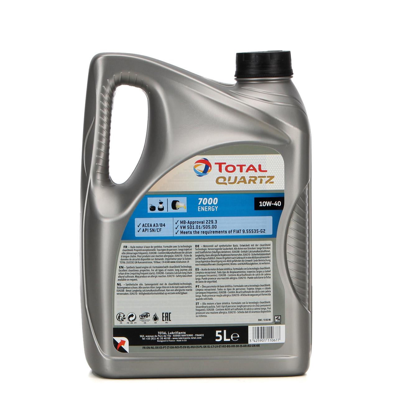 TOTAL QUARTZ 7000 ENERGY Motoröl Öl 10W-40 10W40 VW 501.01/505.00 - 5L 5 Liter