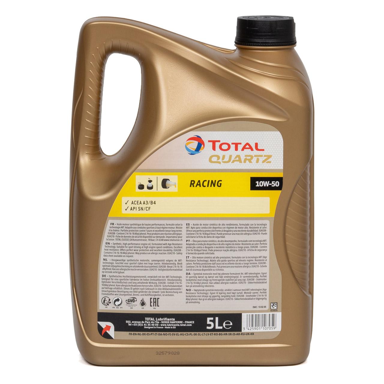 TOTAL QUARTZ RACING 10W-50 10W50 Motoröl Öl ACEA A3/B4 API SN/CF - 5L 5 Liter