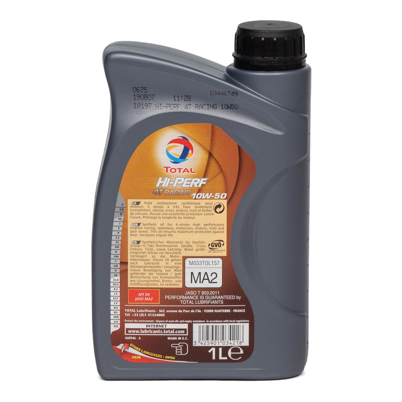 TOTAL HI-PERF 4T RACING Motoröl Öl 10W-50 10W50 API SN JASO MA-2 - 1L 1 Liter