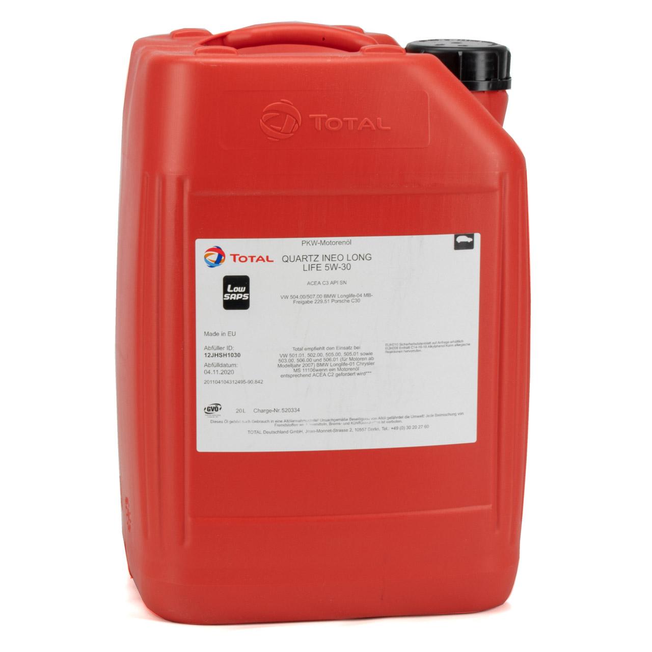 TOTAL QUARTZ INEO LONGLIFE 5W30 Motoröl Öl VW 504/507.00 MB 229.51 - 20 Liter