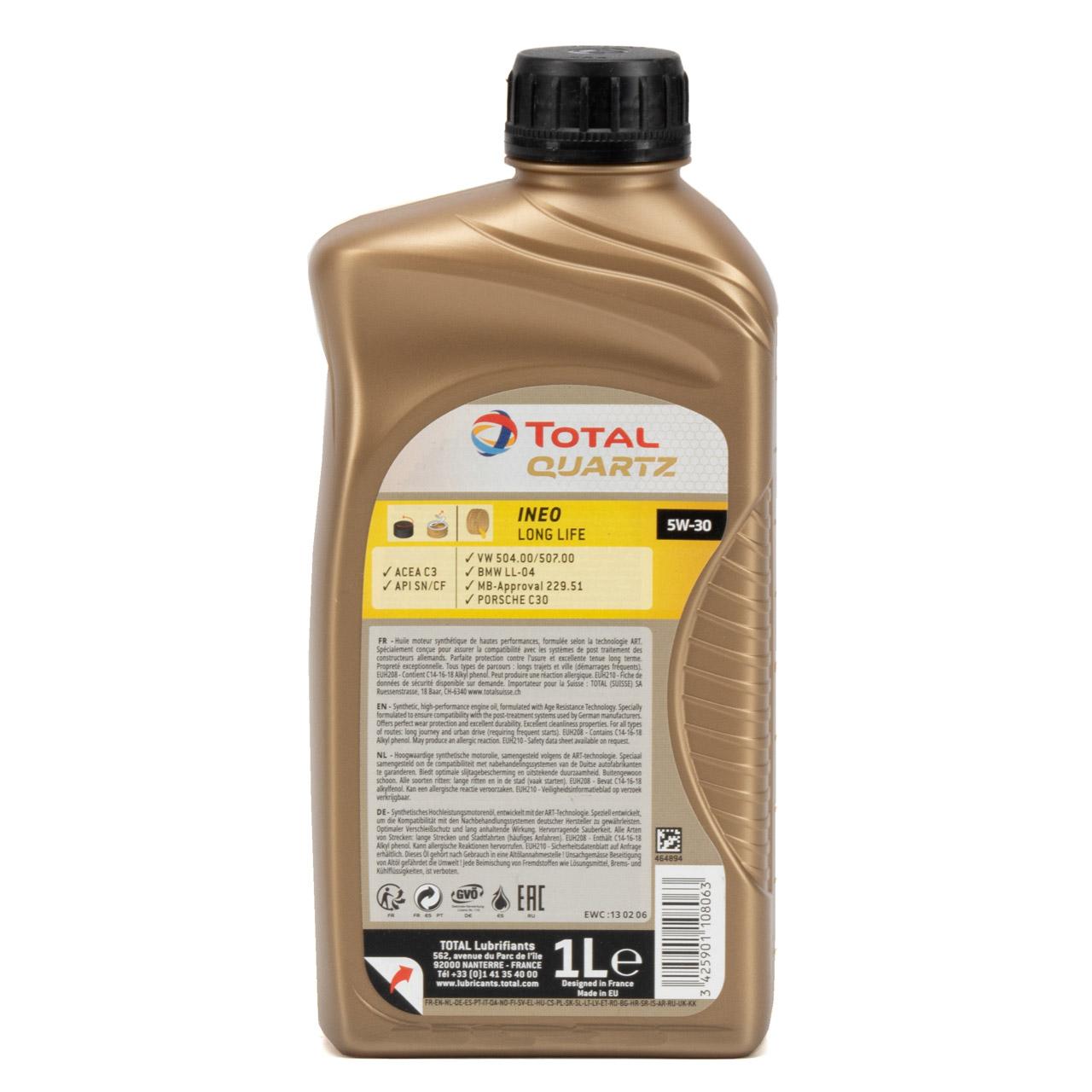 TOTAL QUARTZ INEO LONGLIFE 5W30 Motoröl Öl VW 504/507.00 MB 229.51 - 1L 1 Liter