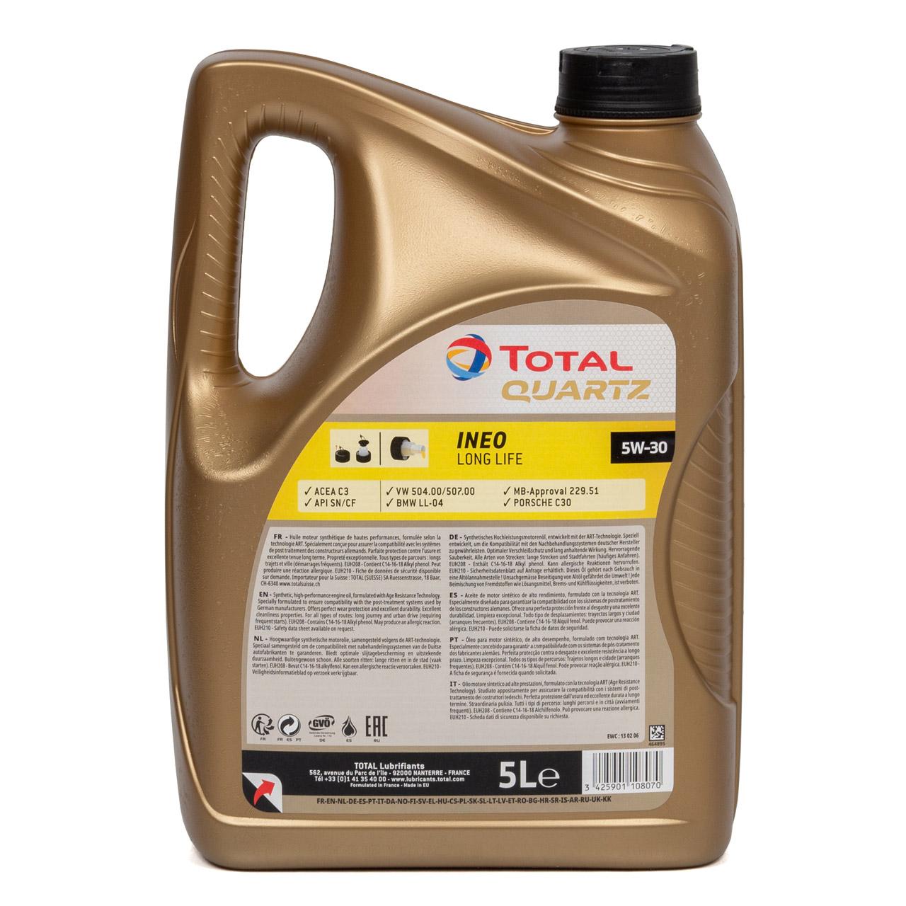 TOTAL QUARTZ INEO LONGLIFE 5W30 Motoröl Öl VW 504/507.00 MB 229.51 - 5L 5 Liter