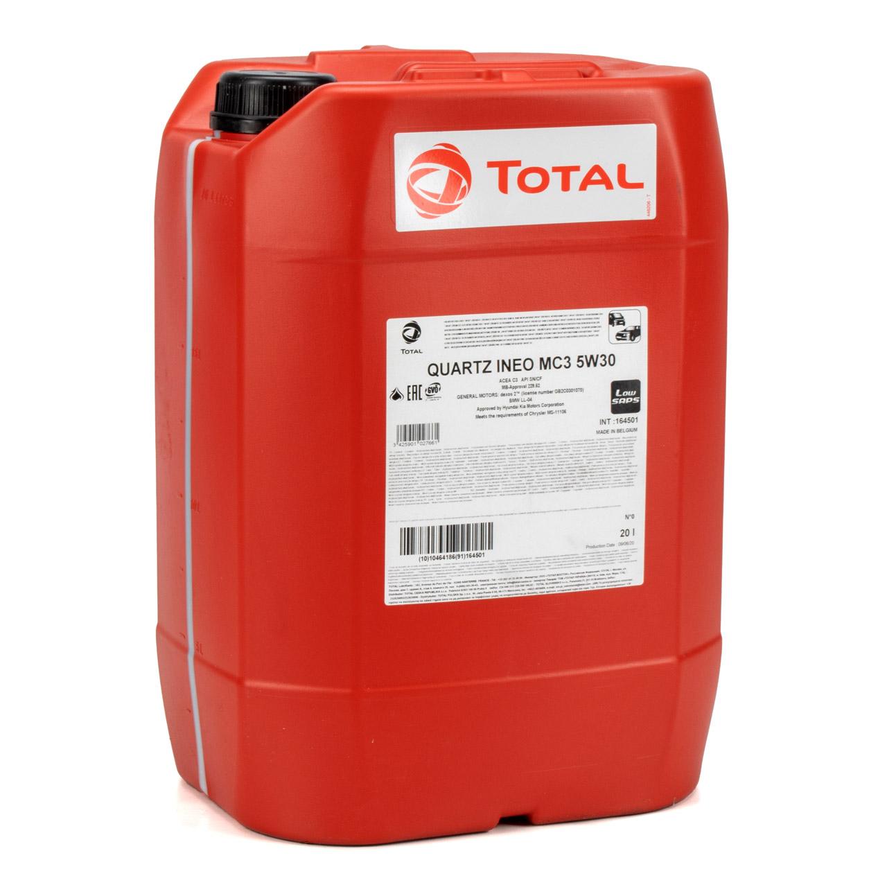 TOTAL QUARTZ INEO MC3 5W-30 Motoröl PSA B71 2297 MB 229.52 BMW LL-04 - 20 Liter
