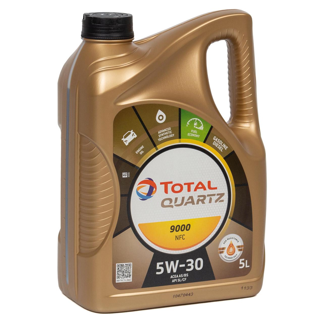 6L 6 Liter TOTAL Motoröl Öl QUARTZ 9000 NFC 5W-30 ACEA A5/B5 FORD WSS-M2C913-D