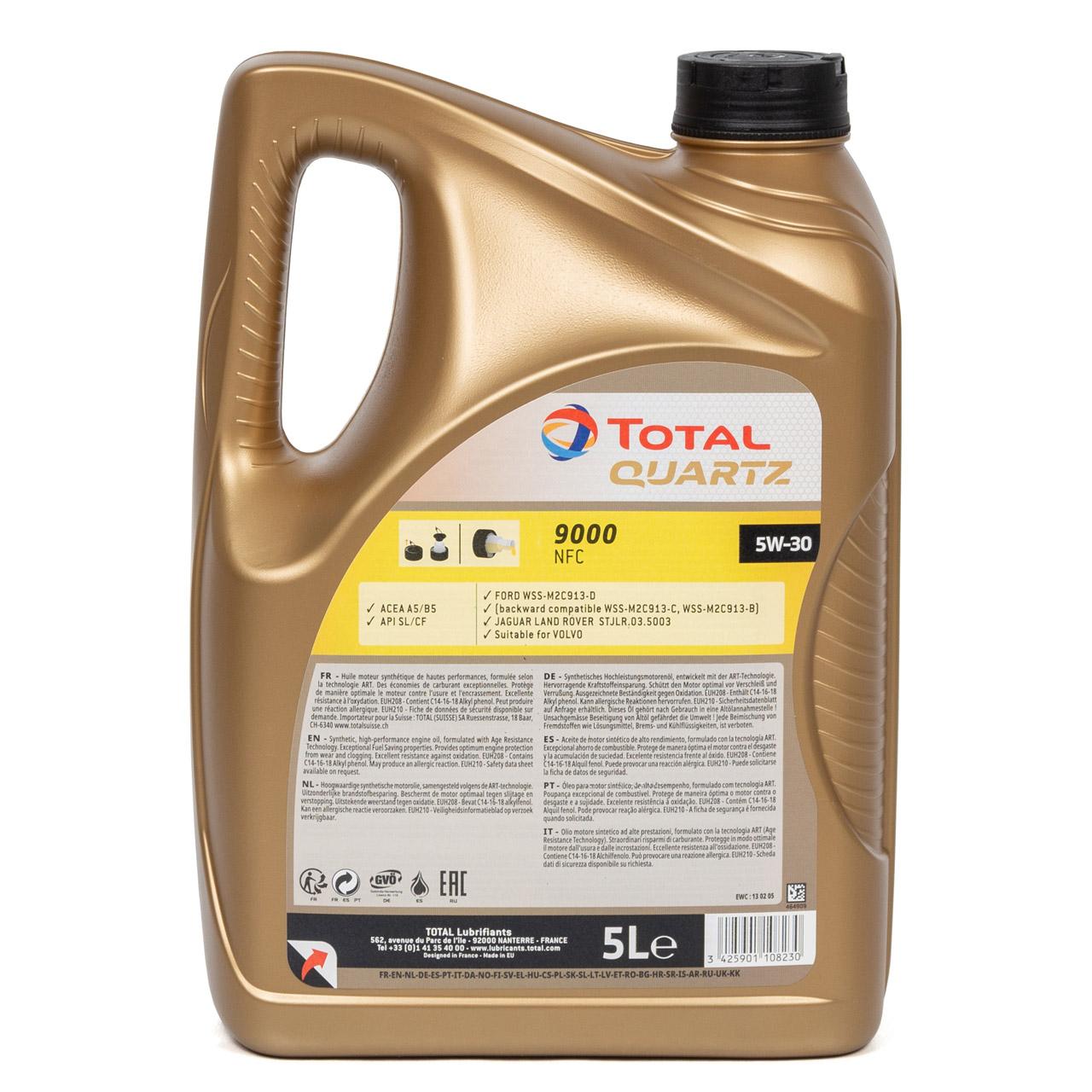 5L 5 Liter TOTAL Motoröl Öl QUARTZ 9000 NFC 5W-30 ACEA A5/B5 FORD WSS-M2C913-D