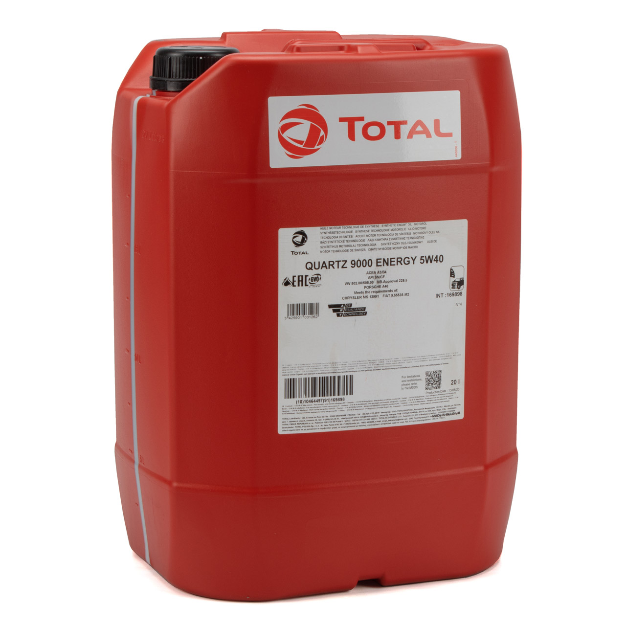 TOTAL QUARTZ 9000 ENERGY 5W-40 Motoröl VW 502.00 505.00 MB 229.5 - 20L 20 Liter