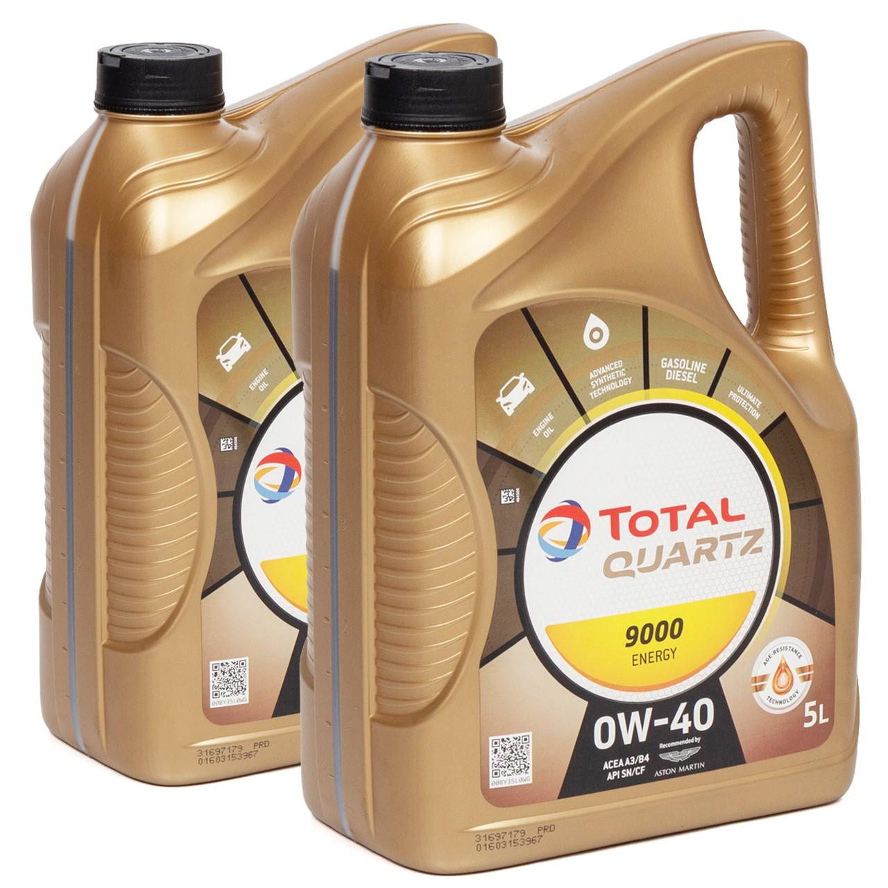 TOTAL QUARTZ 9000 ENERGY 0W40 Motoröl Öl VW 502/505.00 MB 229.5 - 10L 10 Liter