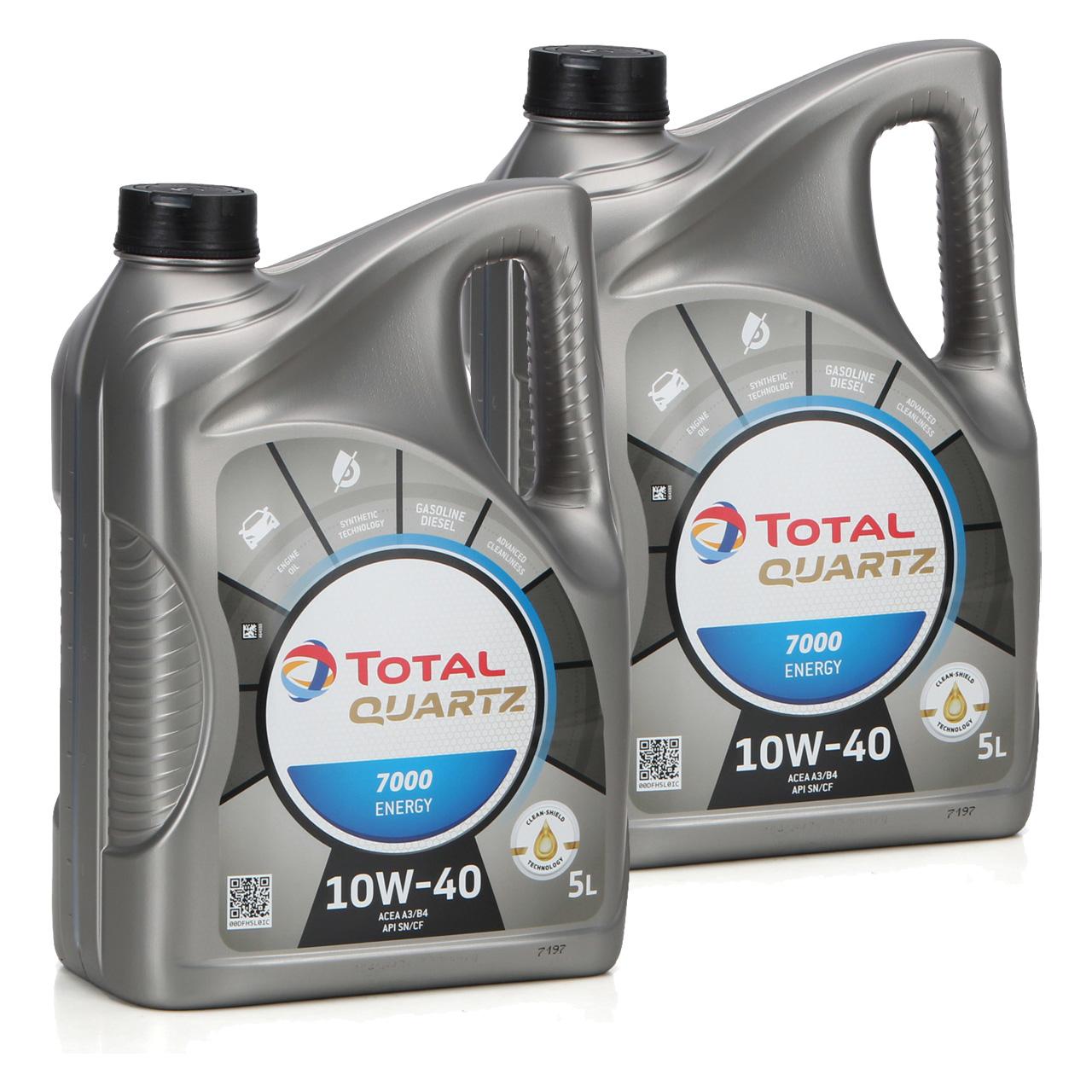 TOTAL QUARTZ 7000 ENERGY Motoröl Öl 10W-40 10W40 VW 501.01/505.00 - 10L 10 Liter