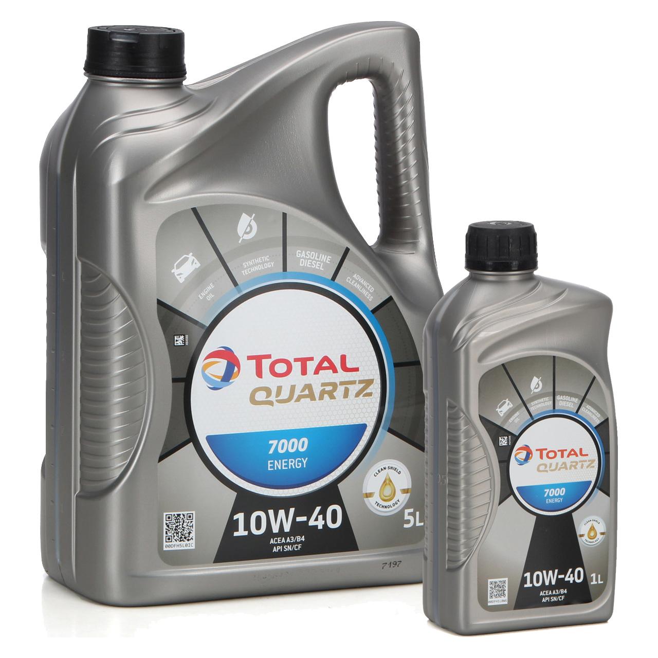 TOTAL QUARTZ 7000 ENERGY Motoröl Öl 10W-40 10W40 VW 501.01/505.00 - 6L 6 Liter