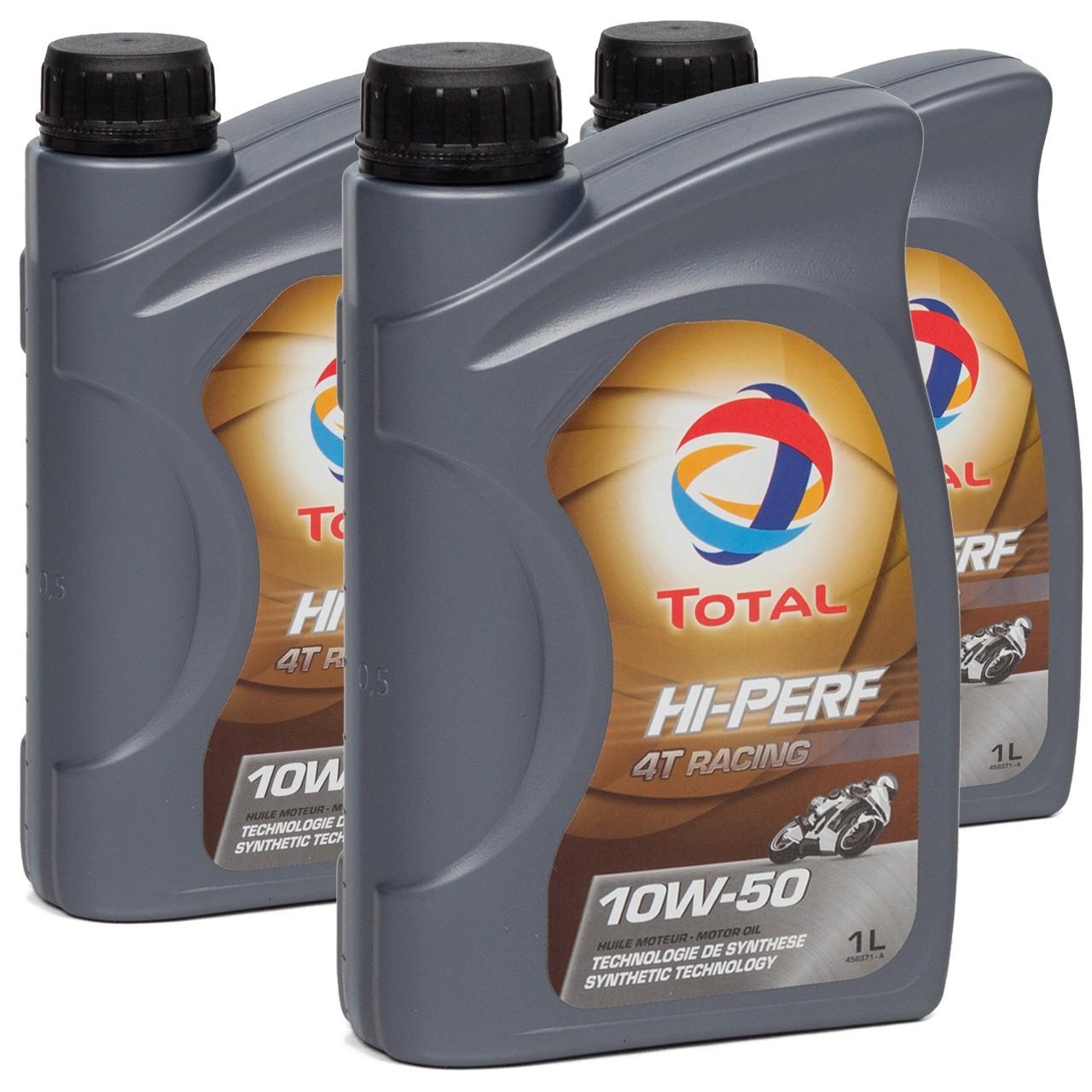TOTAL HI-PERF 4T RACING Motoröl Öl 10W-50 10W50 API SN JASO MA-2 - 3L 3 Liter