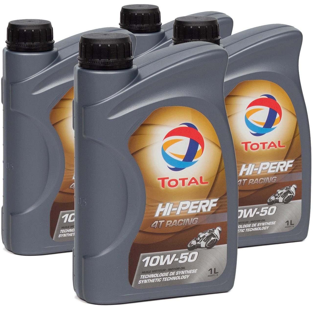 TOTAL HI-PERF 4T RACING Motoröl Öl 10W-50 10W50 API SN JASO MA-2 - 4L 4 Liter