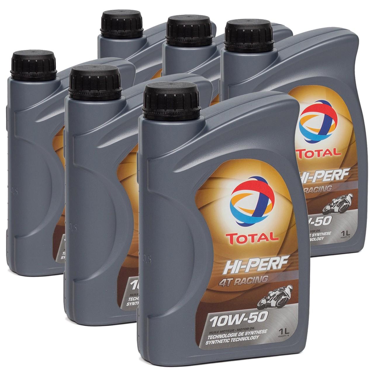 TOTAL HI-PERF 4T RACING Motoröl Öl 10W-50 10W50 API SN JASO MA-2 - 6L 6 Liter