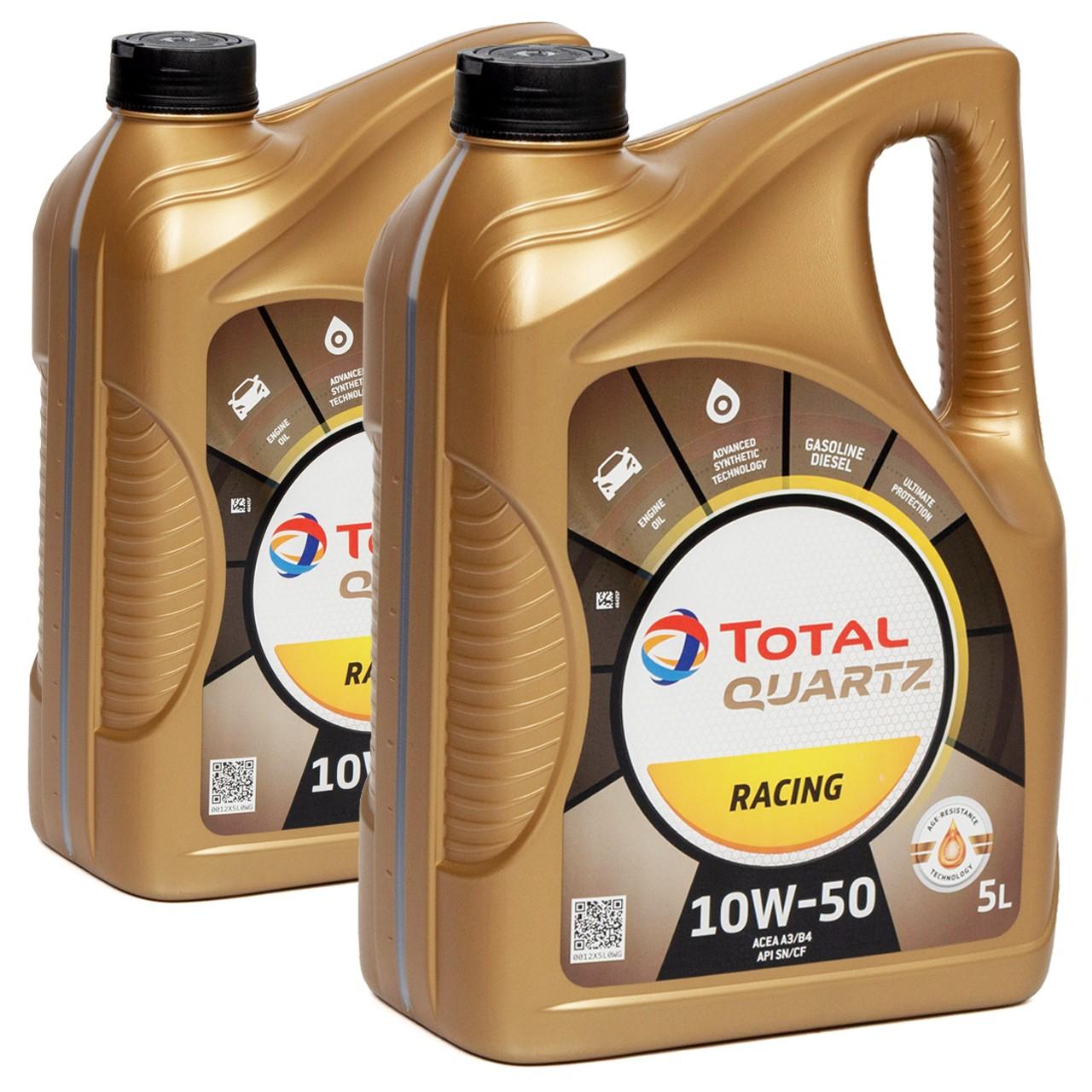 TOTAL QUARTZ RACING 10W-50 10W50 Motoröl Öl ACEA A3/B4 API SN/CF - 10L 10 Liter