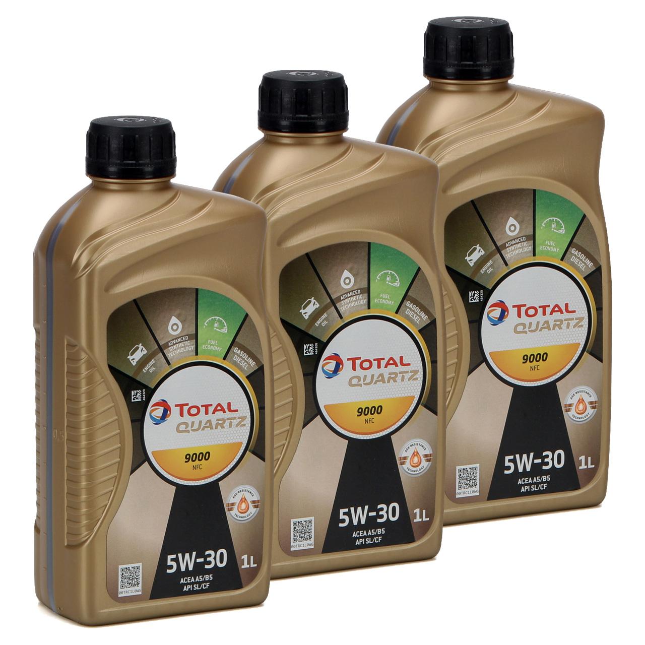 3L 3 Liter TOTAL Motoröl Öl QUARTZ 9000 NFC 5W-30 ACEA A5/B5 FORD WSS-M2C913-D